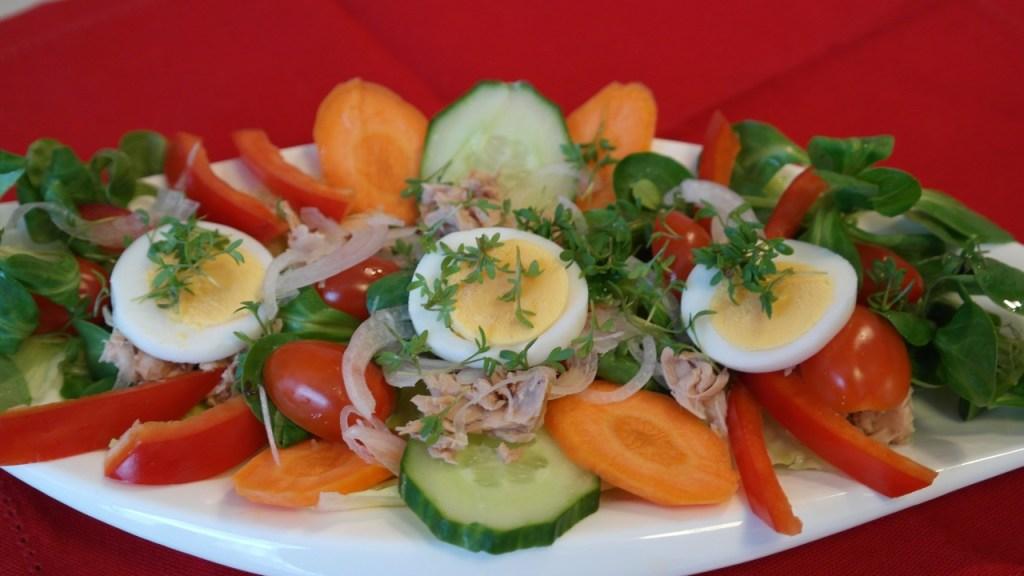 Salad with hard boiled egg