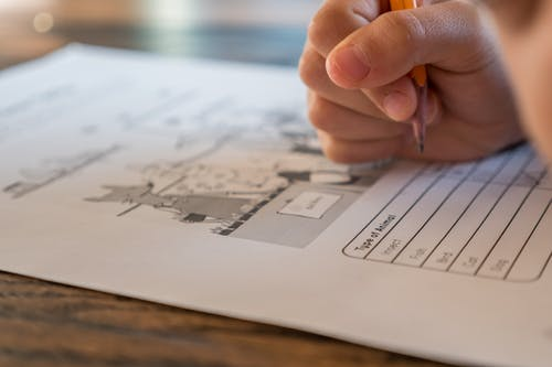 info on unschooling, hand writing on worksheet
