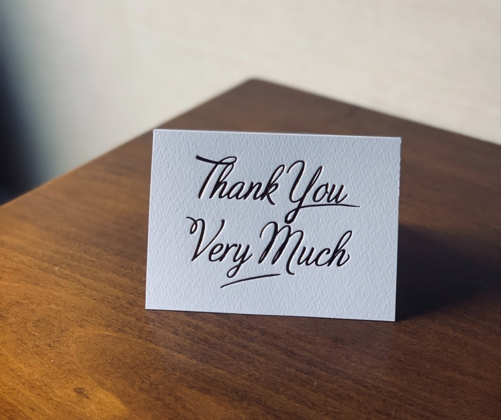 Card to thank cashiers