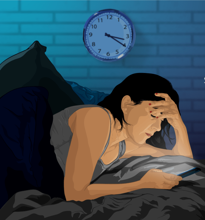 Sleepless Woman with phone