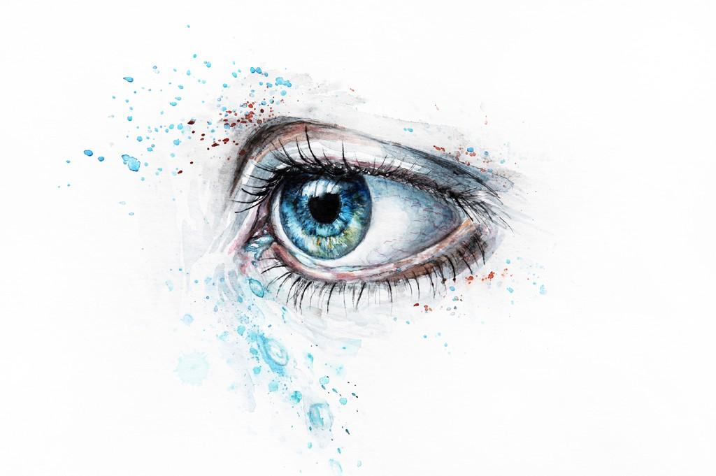 Sad blue eye