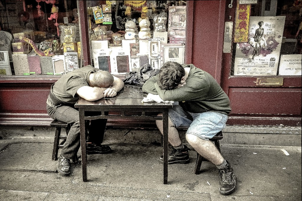 Two men sleeping