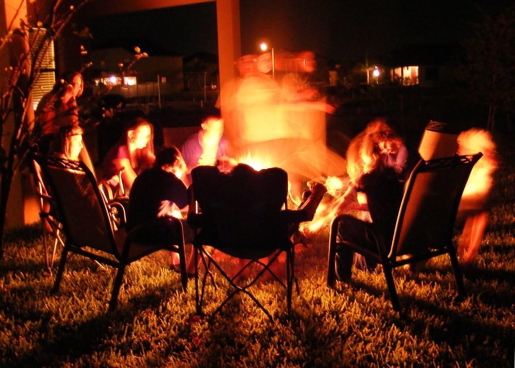 People around fire