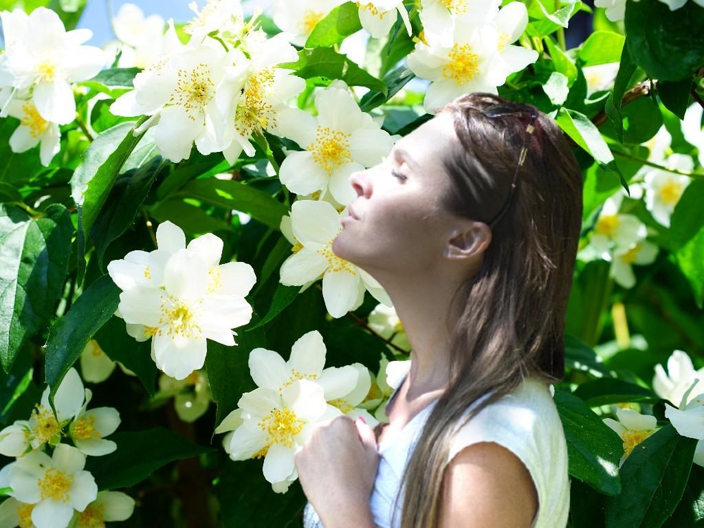 Woman inhaling aroma