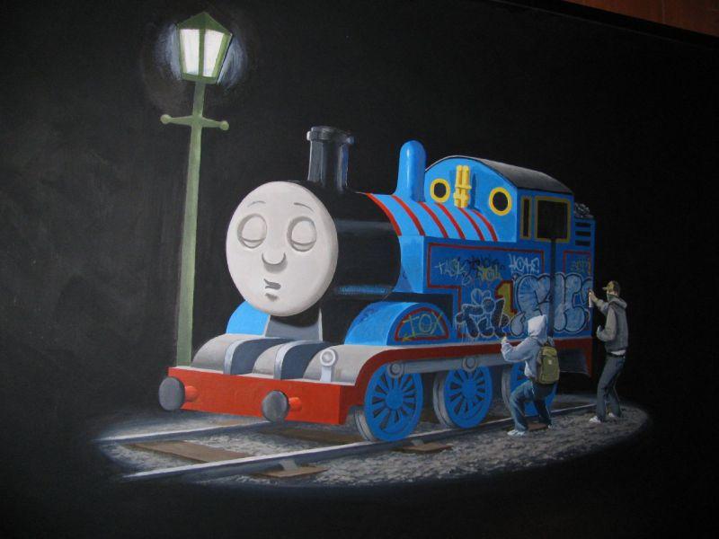 Banksy thomas the train, original Banksy canvas | The ...