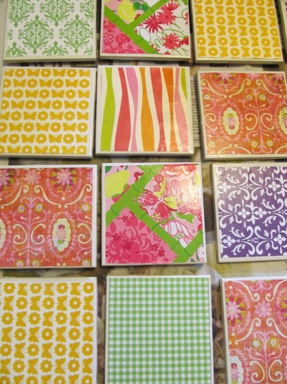 DIY Lilly Pulitzer Coasters for under 17 cents. Adorable Mother's Day gift and even teacher appreciation.