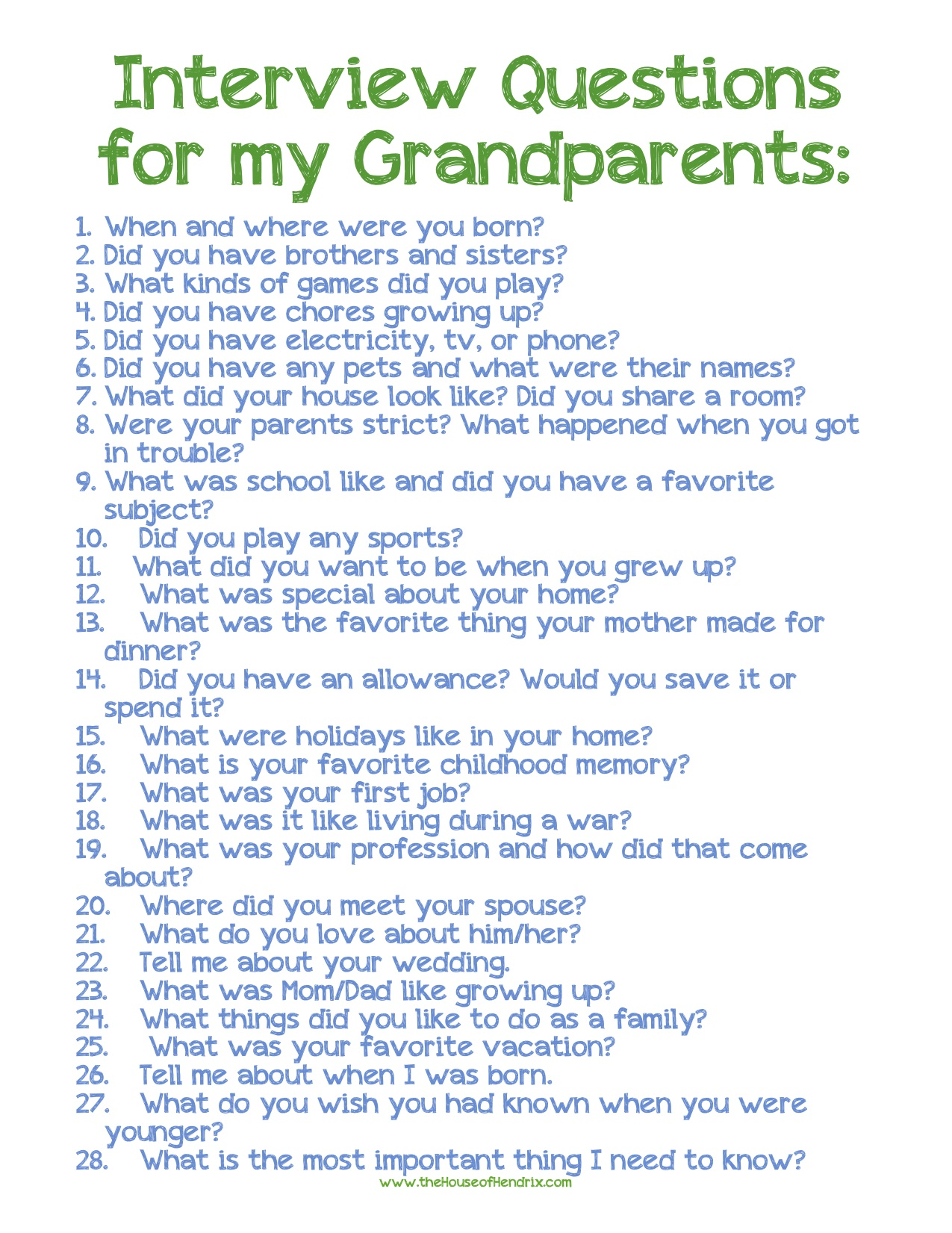 Grandparent Interview Questions