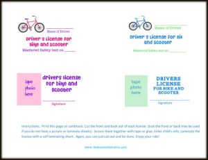 "Kid's Driver's License and Test (for bikes and scooters). - have your child take a simple ""driver's safety test"" and award them with their very own printable Driver's License. great way to teach responsibility. [the House of Hendrix}"