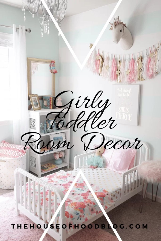Toddler Girl Room Decor, mint pink nursery, unicorn, gold accents