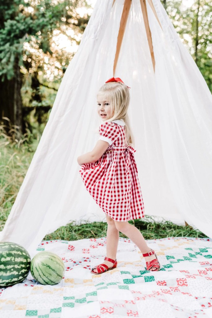 golden hour photo shoot, fall fashion, gingham dress, smocking, toddler style
