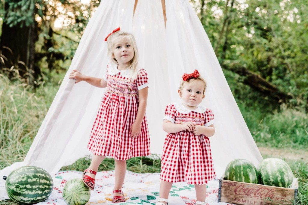 golden hour photo shoot, toddler style, gingham dress, smocking, summer to fall style