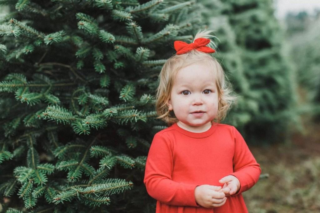 Christmas Tree Photo shoot, christmas card, be merry banner, toddler girl style, family photo shoot, christmas minis, Canon photography, dslr