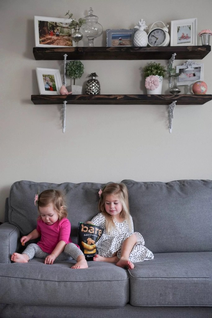 DIY Shelves-toddler snacks-siblings-sisters-bare banana chips