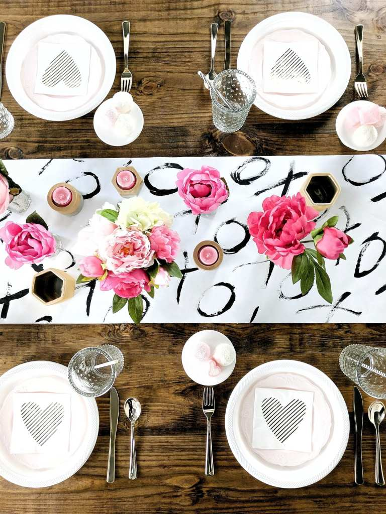 Galentine's party-valentine's party-mimosa bar-brunch-tablescape-pink peonies-girls day-pink tassels-balloon arch-DIY