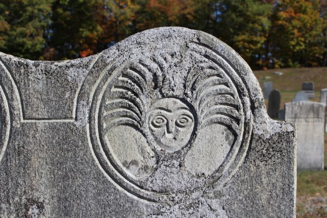 A Medusa Death's Head. This motif was repeated in many other stones in this cemetery.