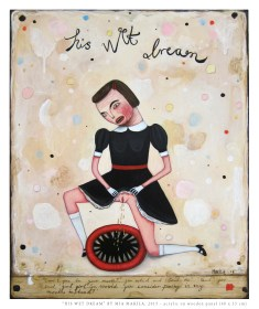 """""""His Wet Dream"""" by Mia Makila (acrylic on wooden panel), 2015"""