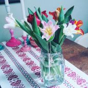 "My mom gave my fresh tulips, my favorites. These tulips are called ""Kissy lips tulips"""