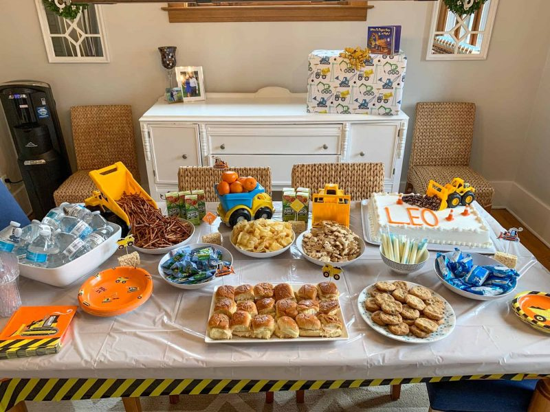 table of food at kids construction theme birthday party
