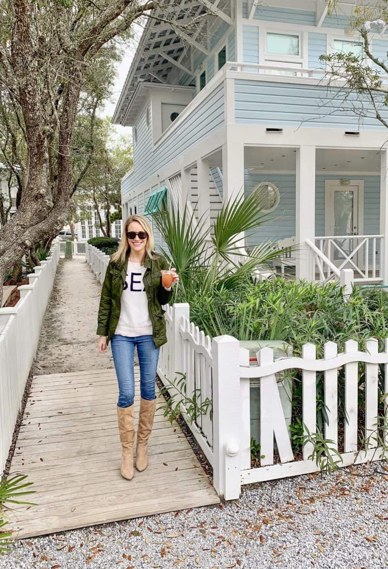 The Ultimate 30A Travel Guide for Families featured by top US travel blog, House of Navy: image of fashion blogger on home tour in florida