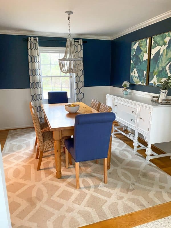 navy dining room makeover