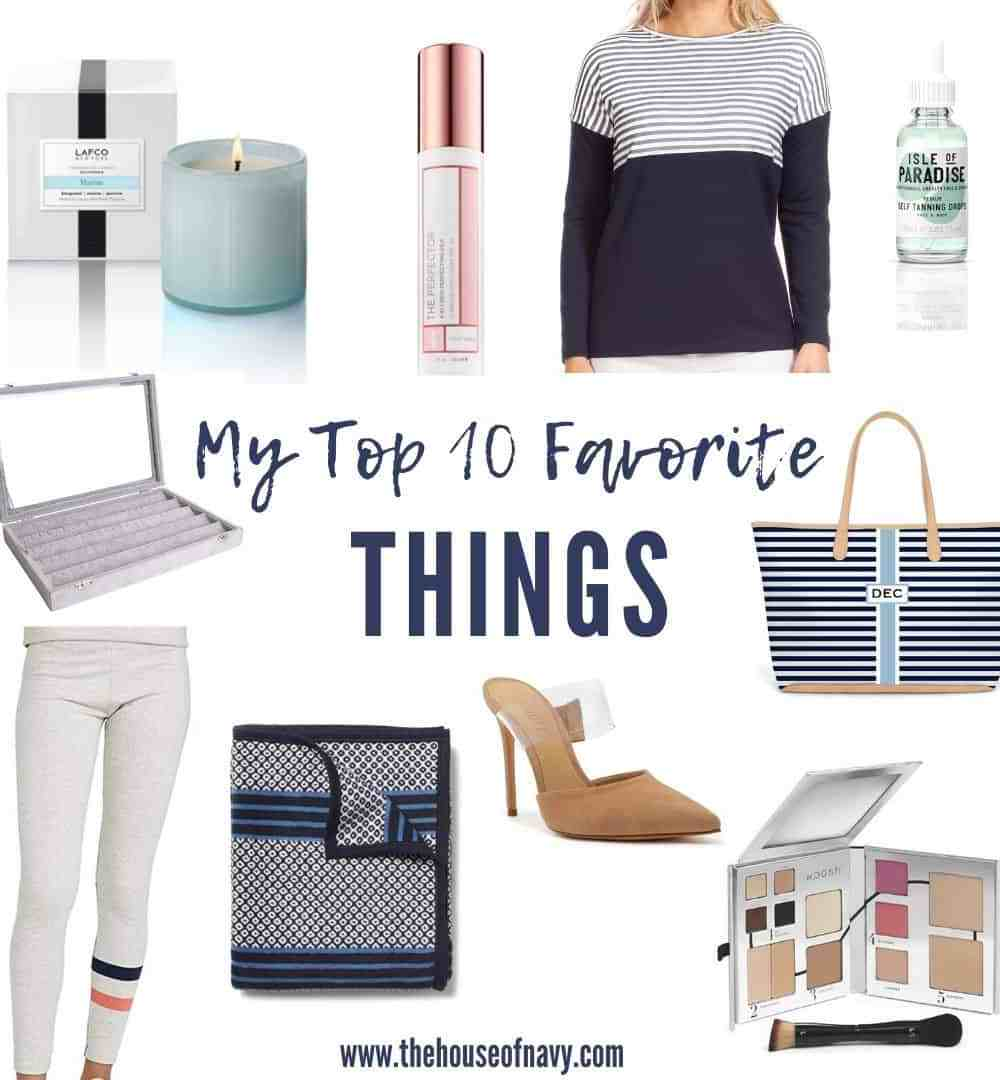 Top 10 Recent Favorites featured by top MI lifestyle blogger, House of Navy: collage of favorite things