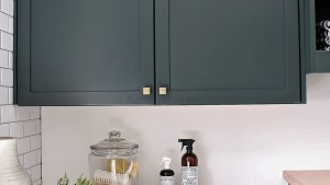 The Laundry/Dog Room: Dark Green Cabinets Layered On