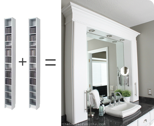CD Cabinets Turned Bathroom Countertop Storage
