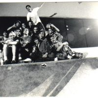 82: In 1992 scientists gather enough Steam power in one New Jersey strip mall skatepark to catapult an elephant over a seventeen story building. Geoff Graham is there to photograph the accomplishment.