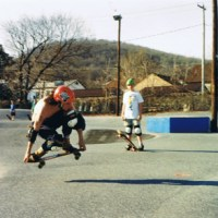 87: Basking in the sun! Paul Frazanelli Jimmy Kane and Steve Mannion 1991 Reading PA skateboarding park