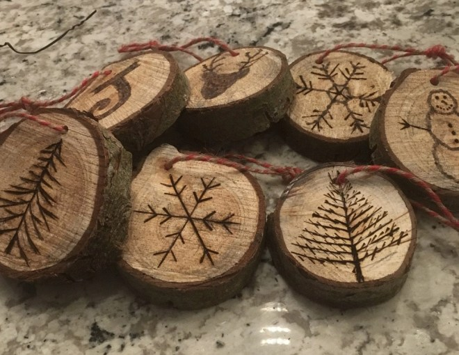 Different patterns for Wood Slice Christmas Ornaments Made with a Wood Burning Tool