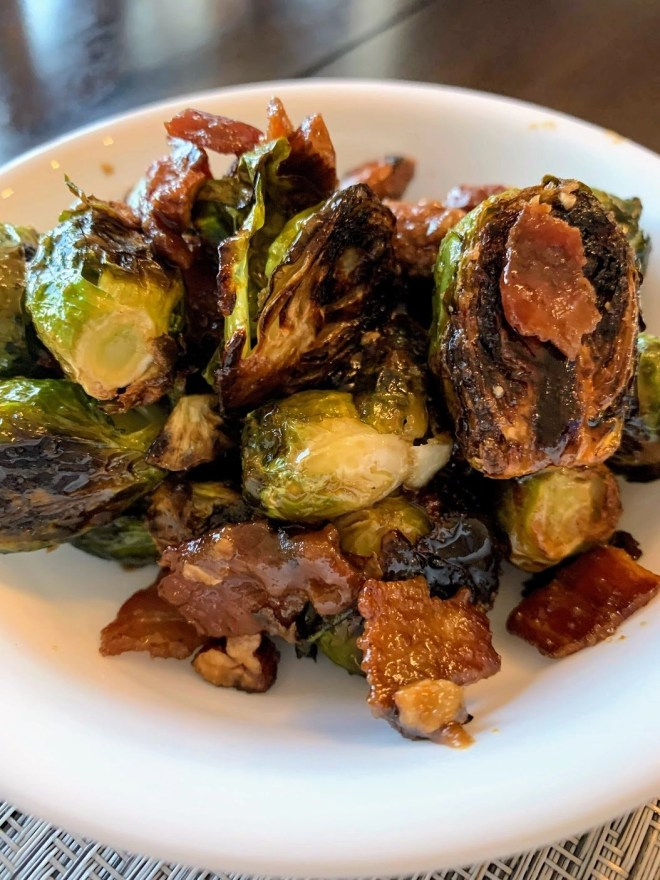 Finished Maple Bourbon Glazed Brussels sprouts, ready to serve!