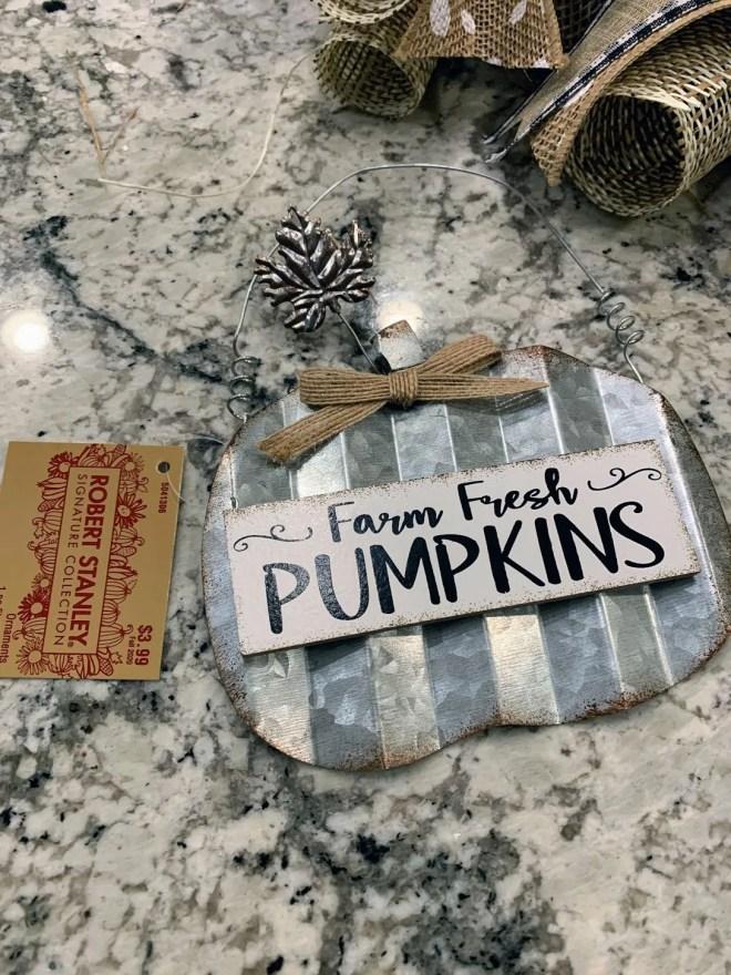 Pumpkin center for DIY Burlap & Ribbon Wreath