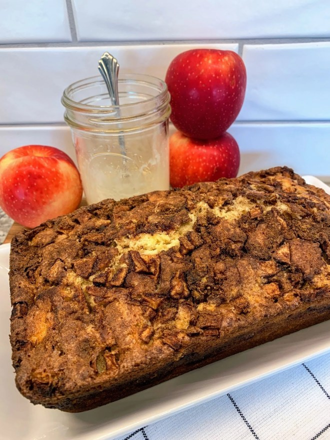 Allow cake to cool for Farmhouse Apple Fritter Bread with Cider Glaze