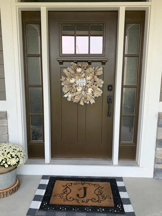 DIY Burlap & Ribbon Wreath on door
