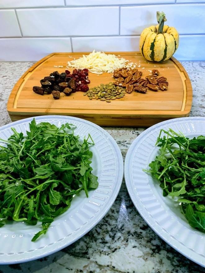 Preparing the toppings for Autumn Salad with Sweet Dumpling Squash