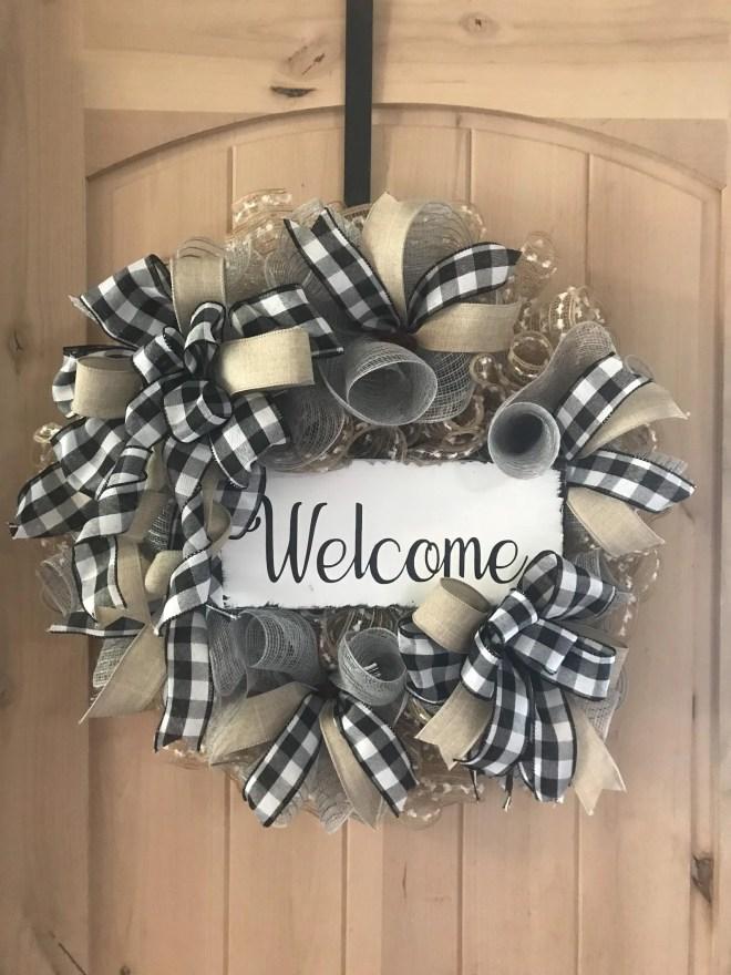 Welcome DIY Burlap & Ribbon Wreath
