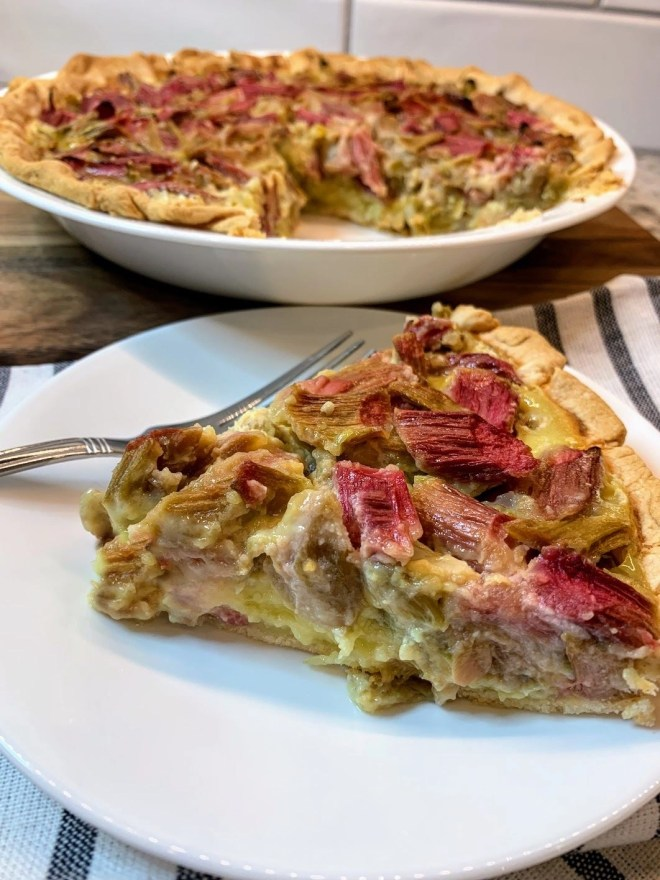 A slice of old fashioned rhubarb custard pie.