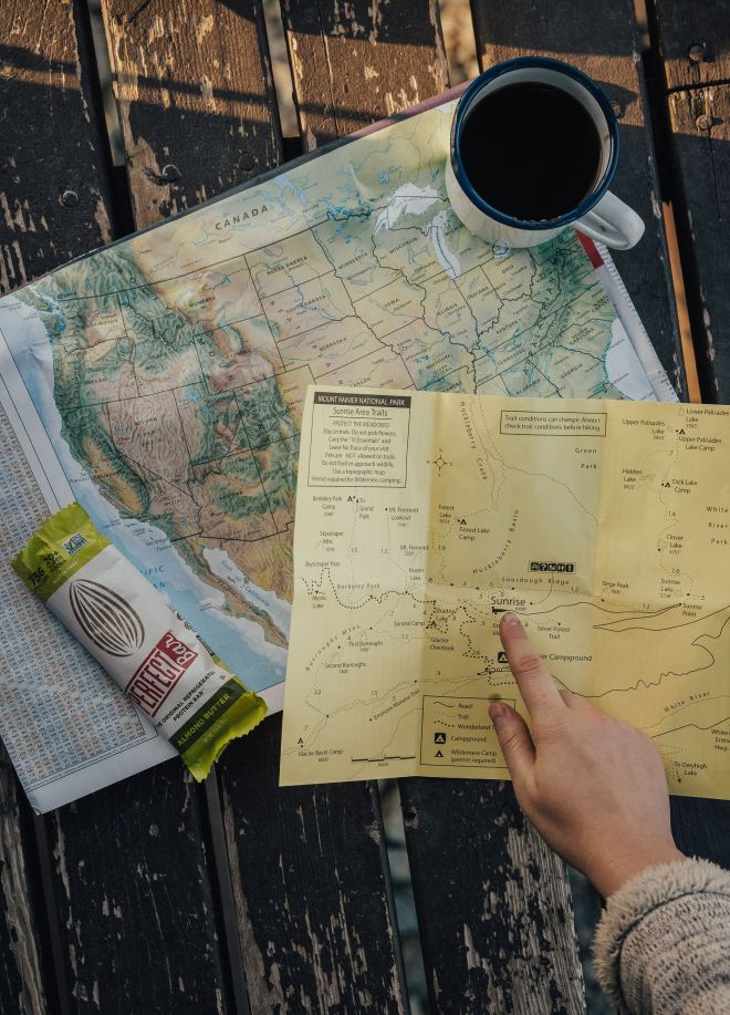 Map for planning a national parks trip.