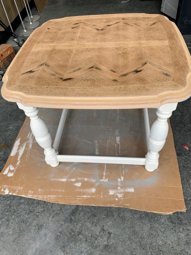 End Table Makeover with Milk Paint and Stain  paint on the legs.