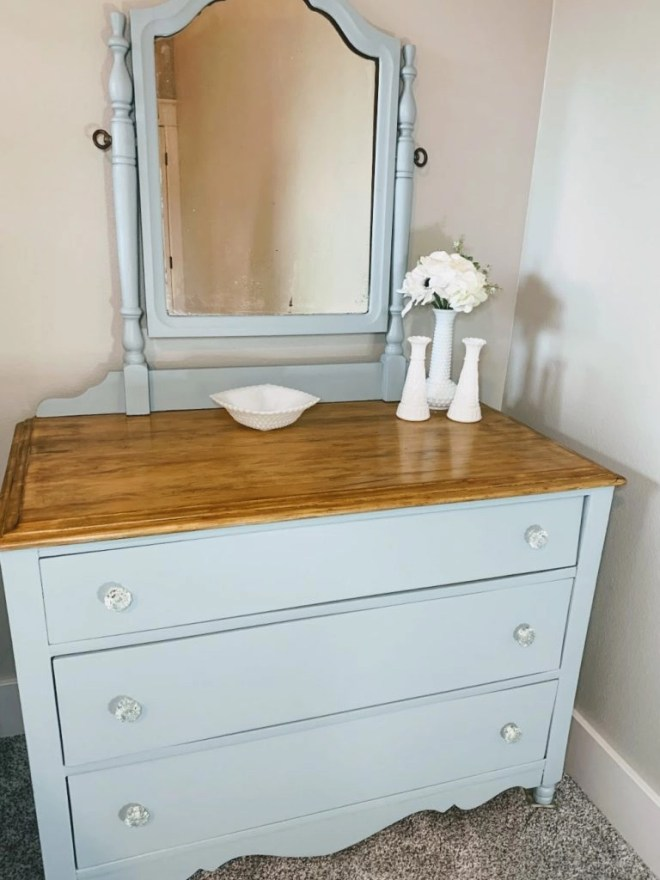 Finished Antique Dresser Makeover with General Finishes Milk Paint