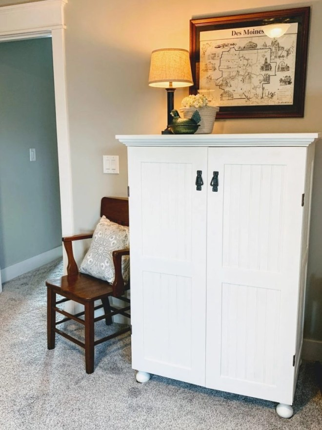 Repainted beadboard cabinet for Guest Bedroom Makeover Using Family Keepsakes--Alabaster White