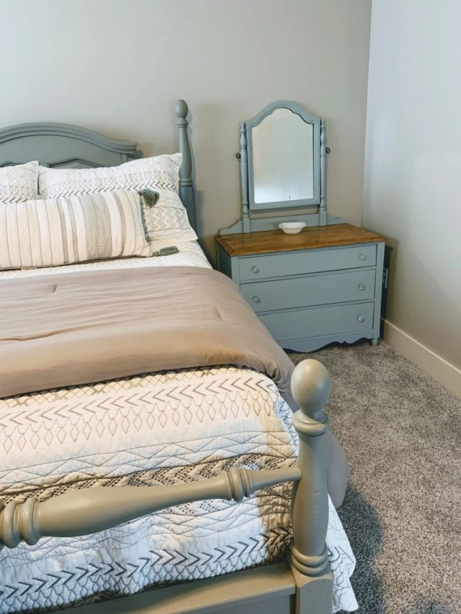 Antique dresser repainted with Persian Blue and Seagull Gray for Guest Bedroom Makeover Using Family Keepsakes