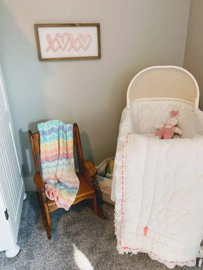 Family baby bassinette for Guest Bedroom Makeover Using Family Keepsakes