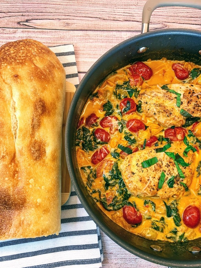 Creamy Tuscan Chicken with Cherry Tomatoes