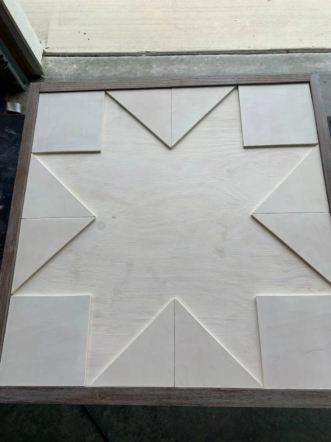 Background pieces assembled for How to Make a Barn Quilt
