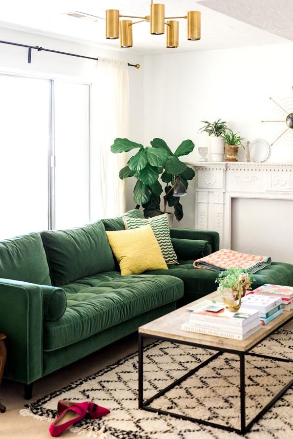 Decoração chique e barata estofado verde esmeralda