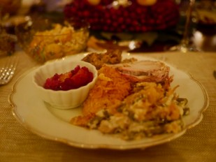 Crown Pork Roast and Chestnut Dressing with Green Bean Casserole, Sweet Potato Souffle, Cranberry Compote, Ambrosia