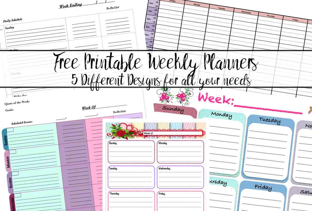 Free Printable Weekly Planners 5 Designs