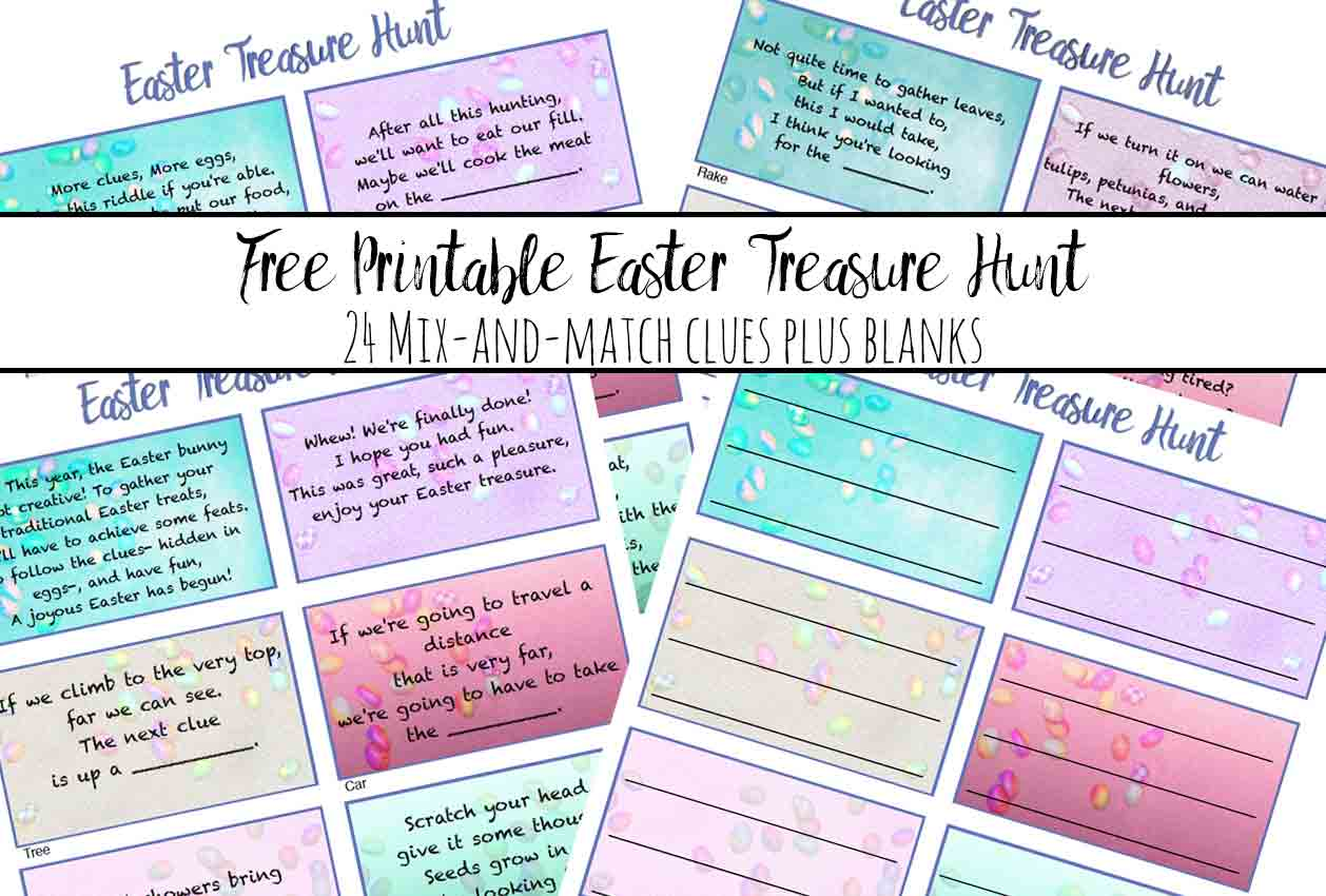 Free Printable Easter Treasure Hunt 24 Mix Amp Match Clue