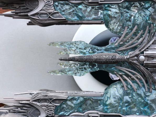 A view from above of the model details the surface of the ship including where the entombed Klingons reside on its hull.